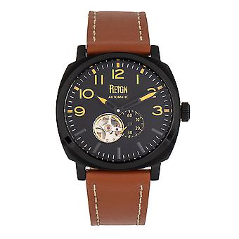 Reign Napoleon Automatic Semi-Skeleton Leather-Band Watch - Black/Brown