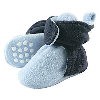 Luvable Friends Baby Cozy Fleece Booties with, Light Blue/Navy, Size 0-6 Months