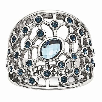 Stainless Steel Polished Blue Glass and Preciosa Crystal Ring Jewelry Gifts for Women - Ring Size: 6 to 10