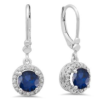 Dazzlingrock Collection 14K Round Blue Sapphire & White Diamond Ladies Halo Style Dangling Drop Earrings, White Gold