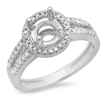 Dazzlingrock Collection 0,33 Carat (CTW) 14K Round Diamond split Shank semi Mount ring 1/3 CT (intet Center), hvidt guld