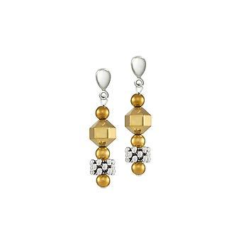 Eternal Collection Apollo hopea ja kulta hematiitti pudota ruuvi takaisin Clip korva korut