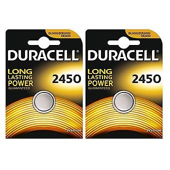 2 x Duracell CR2450 3V Lithium Coin Cell Battery 2450 DL2450 K2450L