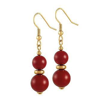 Eternal Collection Flamenco Red Shell Pearl Gold Tone Drop Pierced Earrings