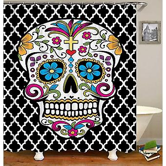 Sugar Skull Over Moroccan Shape Pattern Shower  Curtain
