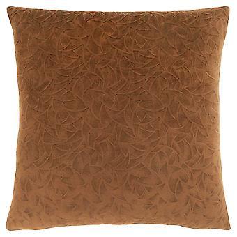 """18"""" x 18"""" Light Brown, Floral Velvet - Pillow"""