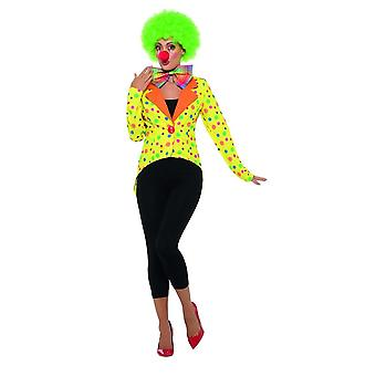 Colourful Clown Tailcoat Jacket,Ladies, Circus Fancy Dress,UK Size 16-18