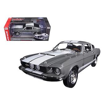 1967 Ford Shelby Mustang GT-350 Medium Gray Metallic 50th Anniversary Limited Edition to 1002pc 1/18 Diecast Model Car by Autoworld