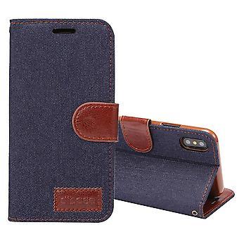 For iPhone XS, X lommebok tilfelle, stylet denim tekstur beskyttende skinndeksel, svart