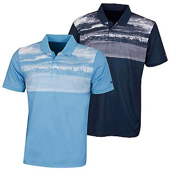 Wolsey Mens Golf Print Breathable Technical Golf Polo Shirt