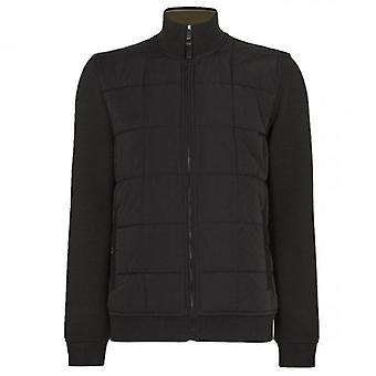 Ted Baker Pasport Black Quilted Funnel Neck Sweatshirt Jacket