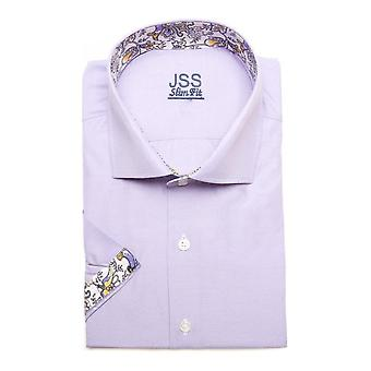 JSS Plain Lilac Slim Fit Short Sleeve Shirt With White Paisley Trim