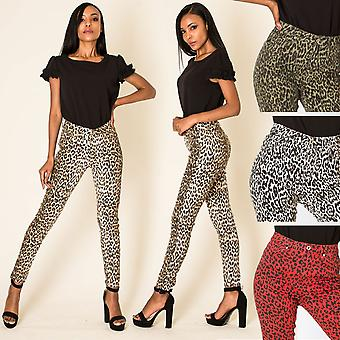 Women's Skinny Pants Stretch High Waist shaping Leopard Print Treggings Trousers