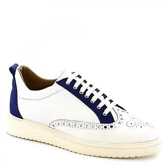ليوناردو أحذية الرجال & ق الدانتيل المصنوعة يدويا المنبثقة أحذية عارضة في الجلود نابا الأزرق الأبيض