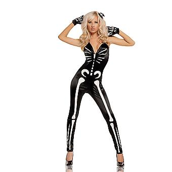 Elegant Moments Womens Sexy Skeleton Suit Glow In The Dark Halloween Costume