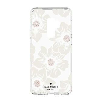 kate spade Flexible Hardshell Case for Galaxy S9 Plus - Hollyhock Floral Clear / Cream with Stones
