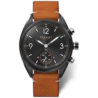 Kronaby mens Apex 41 Bluetooth zwarte wijzerplaat, bruin lederen A1000-3116 S3116/1 horloge