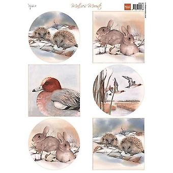 Marianne Design 3D Decoupage sheet Mattie winter animals Hegde hogs MB0163