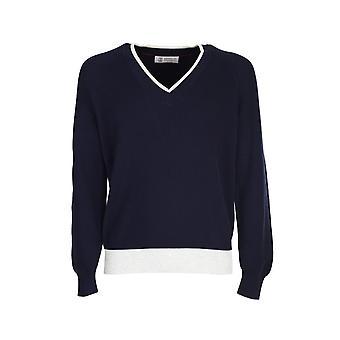 Brunello Cucinelli M2915802cc668 Men's Blue Cotton Sweater