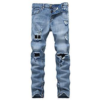 Allthemen Men-apos;s Four Seasons Leisure Stitching Skinny Jeans
