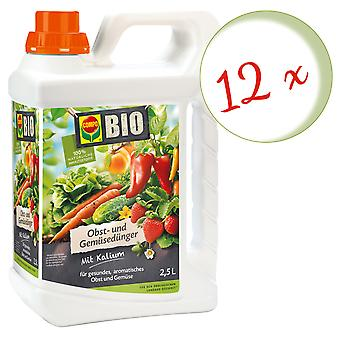 Sparset: 12 x COMPO ORGANIC fruit and vegetable fertilizer, 2.5 litres