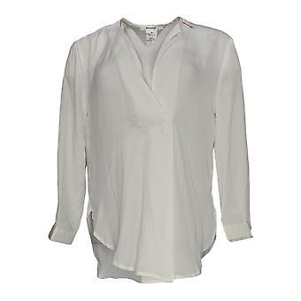 Masseys Women's Top 3/4 Sleeve Basic Layering Blouse White