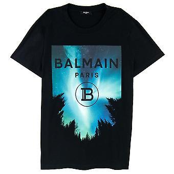 Balmain Moon Print T Shirt Black