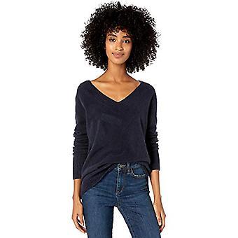 Marque - Goodthreads Women-apos;s Mid-Gauge Stretch V-Neck Sweater, Navy , L...