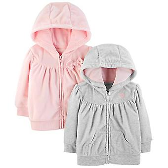 Simple Joys de Carterăs Girls' 2-Pack Fleece Full Zip Hoodies, Light Gray/Pin...