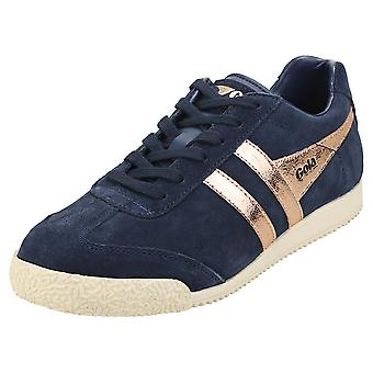 Gola Harrier Mirror Womens Classic Trainers in Navy Rose Gold