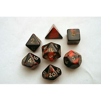 Oblivion Polydice Set - Red - 7 Standard Sized Dice for D&D and other RPGs