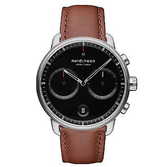 Nordgreen PI42SILEBRBL Black Dial Brown Leather Strap Wristwatch