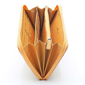 Zip de couro de carvalho de palha em torno da carteira