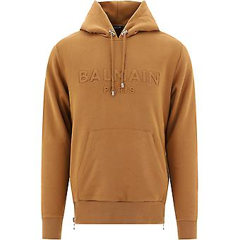 Balmain Uh03642i3358fa Men's Brown Cotton Sweatshirt