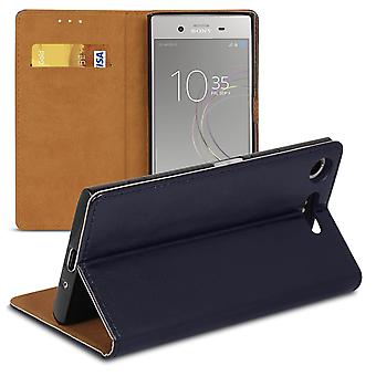 Book case with card compartment for Sony Xperia XZ1 Microfiber Synthetic Leather Magnetic Lock Blue