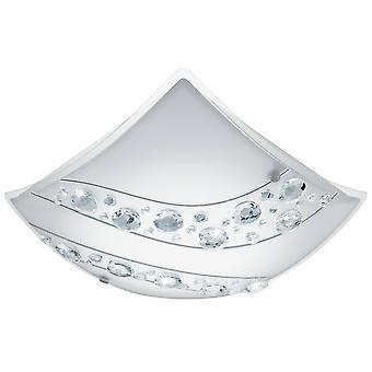 LED Flush Ceiling Light White, Crystal and Satin Glass
