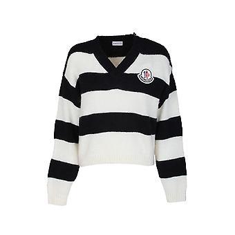 Moncler 9d70300a9460085 Mujer's Suéter de lana blanco/negro