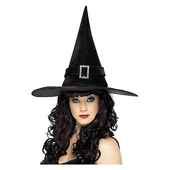 Dámske čierne čarodejnice klobúk s Diamante pracka Halloween maškarné príslušenstvo