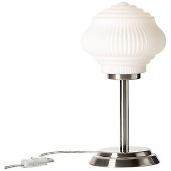 LYSANDE lampa Tanic bordslampa nickel/ matt vit | 1x C35, E14, 25W, lämplig för levande ljuslampor (ingår ej) | Skala