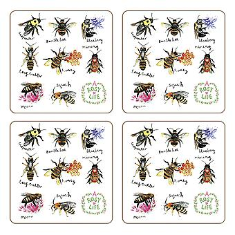 iStyle Beautiful Bees Set of 4 Coasters