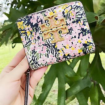 Tory burch britten printed mini small zip bifold wallet flower field