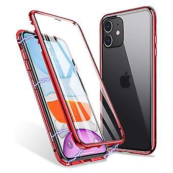 スタッフ認定® iPhone 12 ミニマグネティック 360 ° テンパリングガラス付きケース - フルボディカバーケース + スクリーンプロテクターレッド