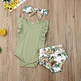 Toddler Kids Baby Girl Infant Clothes Romper Tops Flower Print Pants Headband