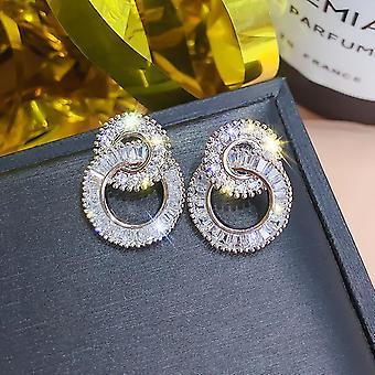 Kauniit korvakorut sterling hopea kaksinkertainen renkaat zirkon