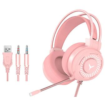 H & A Gaming Headphones Wired for PC / Xbox / PS4 / PS5 - Headset Headphones with Microphone Pink