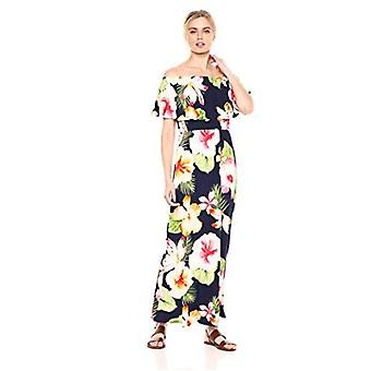28 Palms Women's Tropical Hawaiian Print Off Shoulder Maxi Dress, Black/Yellow/Blue Floral, Medium