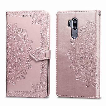 För LG G7 ThinQ Halvvägs Mandala Präglingsmönster horisontellt flip läderfodral med hållare & Kortplatser & Plånbok& Snodd(Rose Guld)