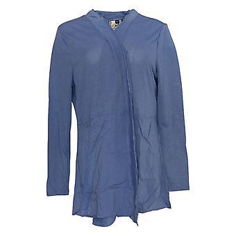 Rhonda Shear Women-apos;s Sweater Blue Long Sleeve Cardigan Collared 685-143