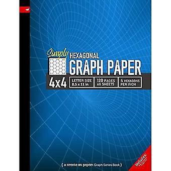 Gewoon 4x4 Grafiek Papier: Hexagonal Grid lijn regeerde Samenstelling Notebook, 8,5x 11in (Letter grootte), 120 pagina's, 4 zeshoeken per inch (Maken op grafpapier)