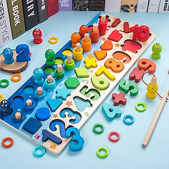 Wooden Montessori Magnetic Fishing Digital Shape Matching Blocks Educational